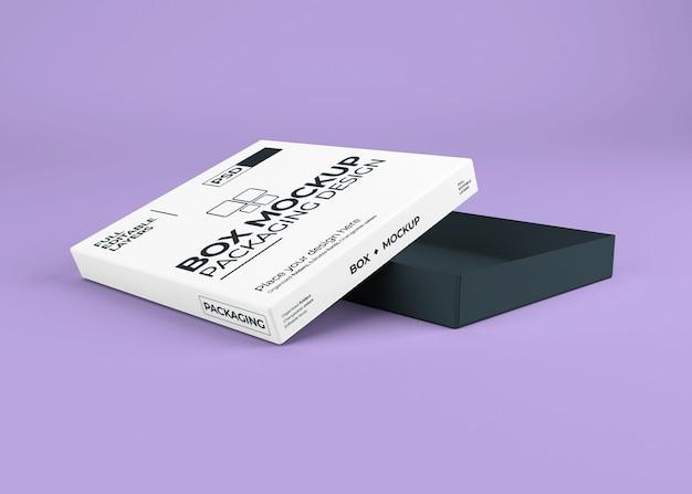Bella scatola realistica con mockup coperchio aperto