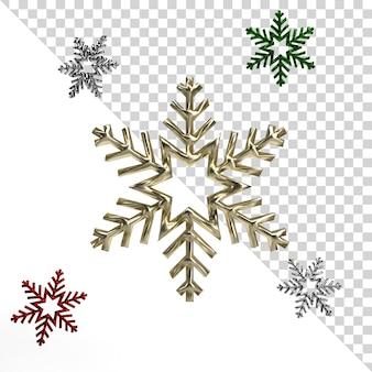 Rendering realistico bellissimo fiocco di neve isolato