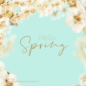 Bella carta di fiori di primavera, tema di stagione, ciao primavera