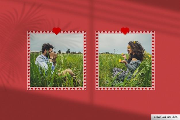 Bellissimo mockup di cornice di carta di san valentino