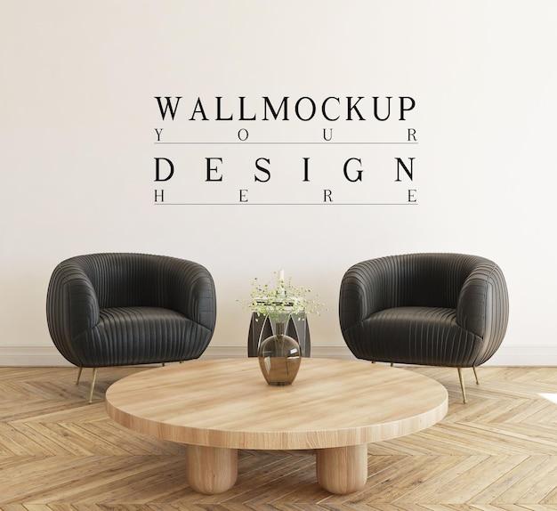 Bellissimo modello da parete in un moderno soggiorno semplice