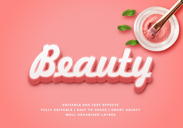 Modello di effetto di stile del testo di bellezza 3d