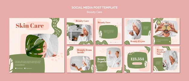 Modello di post sui social media per la cura della bellezza