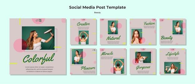 Modello di post sui social media di concetto di bellezza