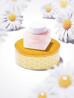 Prodotto di bellezza sul podio al miele con fiori bianchi. illustrazione 3d