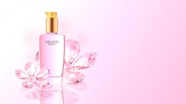 Prodotto di bellezza con fiori di diamante rosa