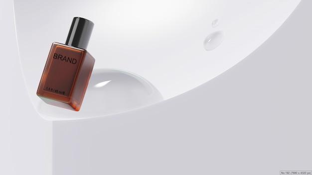 Prodotto di bellezza con goccia d'acqua 3d render