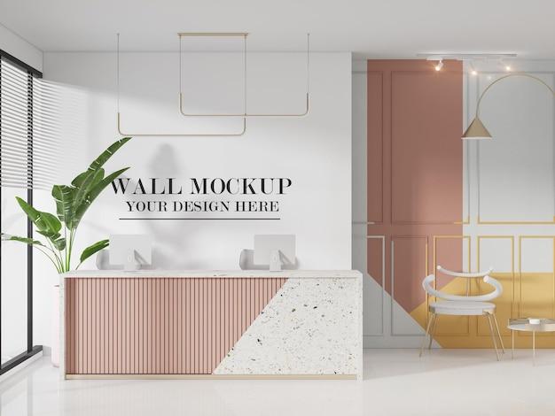 Mockup della parete della reception del salone di bellezza