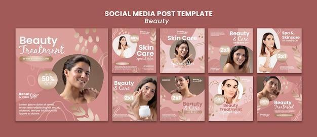 Modello di progettazione di post sui social media di bellezza