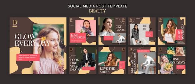 Modello di post sui social media di bellezza