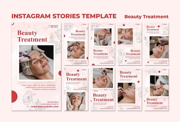 Storie di instagram di trattamenti di bellezza