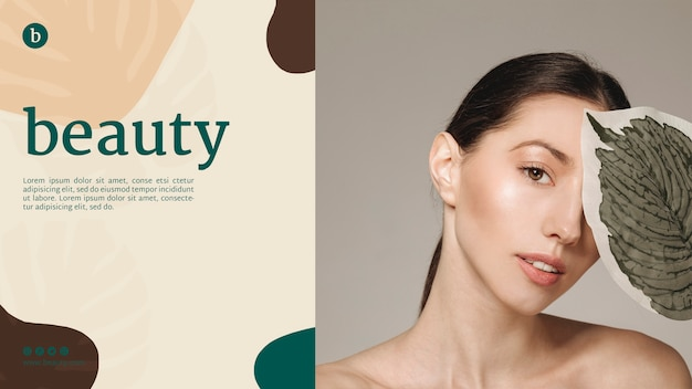 Modello web di bellezza con una donna