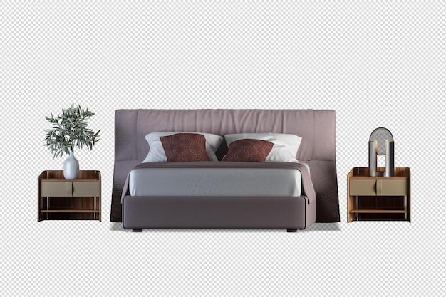 Rendering 3d mockup interno letto isolato
