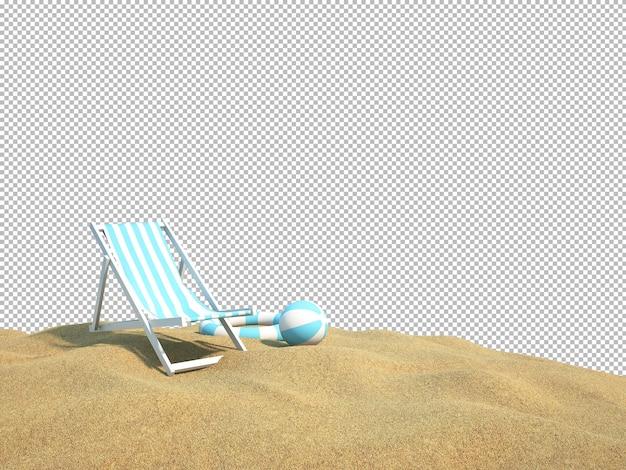 Set letto sulla spiaggia con sfondo isolato