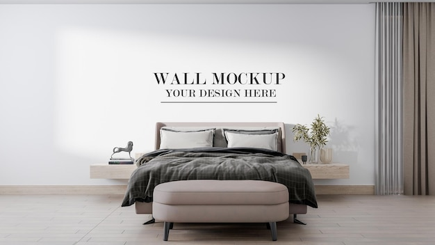 Parete mockup vista frontale camera da letto in scena 3d Psd Premium