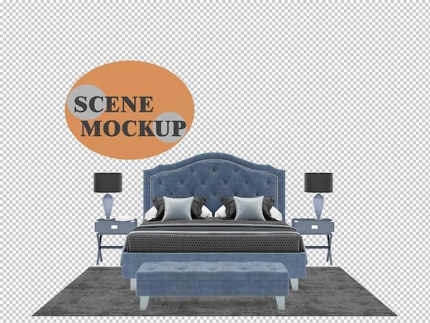 Mockup di rendering 3d di mobili per camera da letto