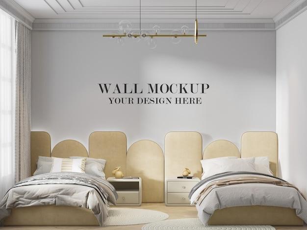 Modello di parete della camera da letto dietro la testiera grigia