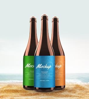Mockup estivo di bottiglia di birra