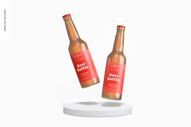 Mockup di bottiglie di birra, che cade