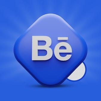 Icona di rendering 3d di behance