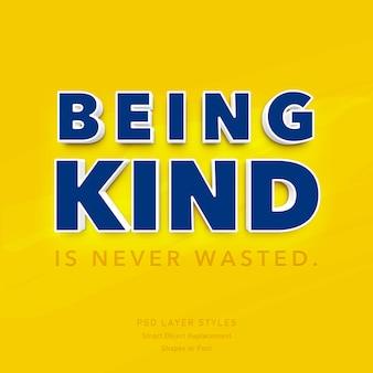 Essere gentili non è mai uno spreco di effetti in stile testo 3d