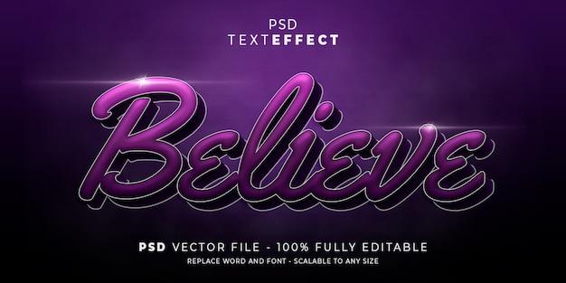 Credi l'effetto del testo e del carattere