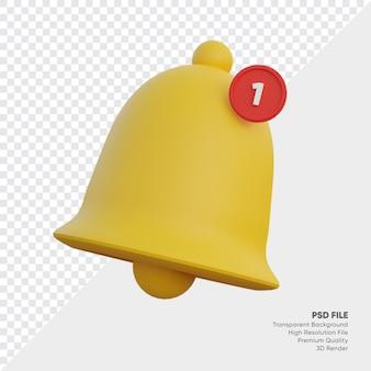 Illustrazione 3d di notifica campana