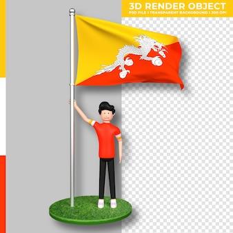 Bandiera del bhutan con personaggio dei cartoni animati di persone carine. giorno dell'indipendenza. rendering 3d.