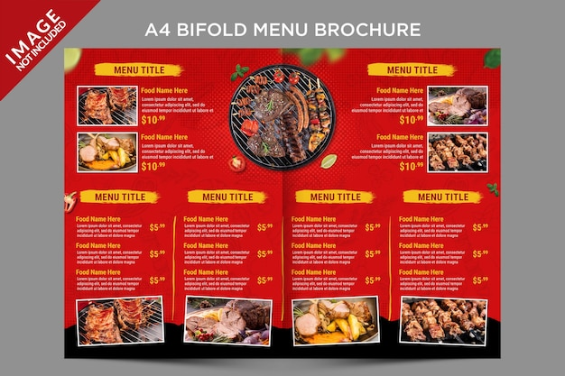 Brochure del menu bifold all'interno del modello