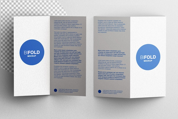 Bifold cancelleria brochure flyer mockup scena creatore piatto laici isolato