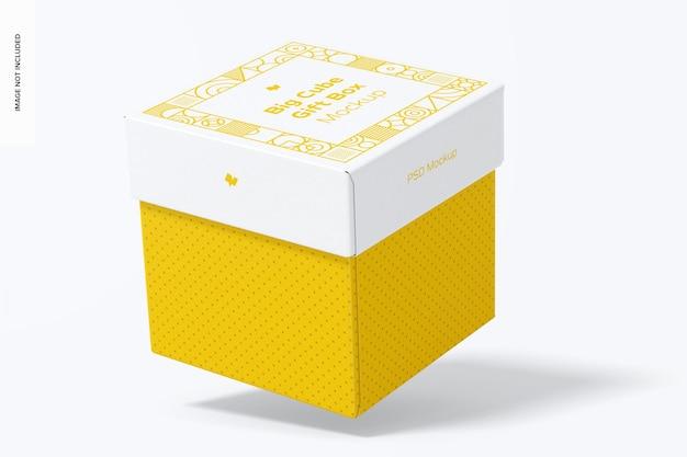 Mockup di scatola regalo cubo grande, caduta