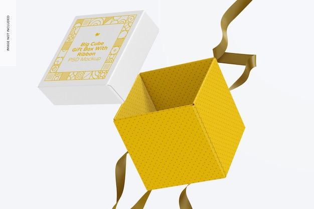 Scatola regalo cubo grande con nastro mockup, caduta