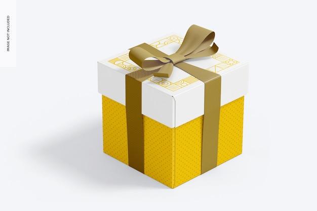 Confezione regalo cubo grande con mockup di nastro
