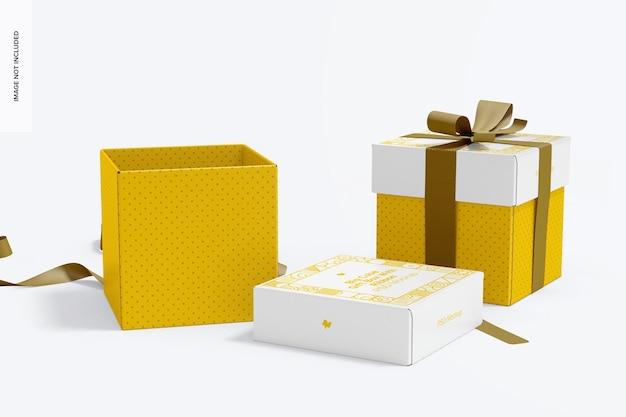 Scatole regalo cubo grande con nastro mockup, aperto e chiuso