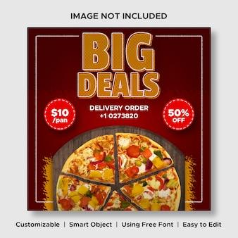Modello di banner post di instagram di social media menu promozione sconto cibo per pizza