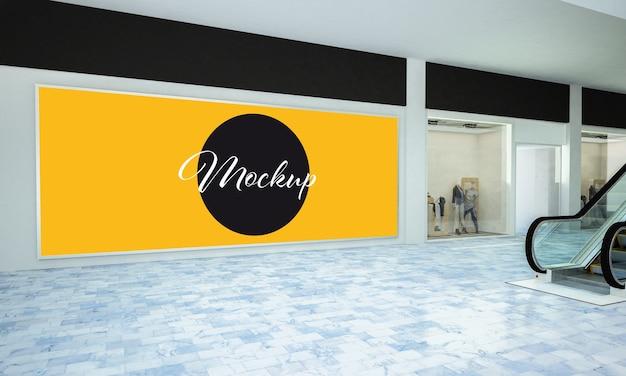 Grande mockup di cornice pubblicitaria orizzontale in un centro commerciale