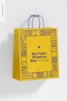 Mockup di borsa della spesa grande carta, appeso