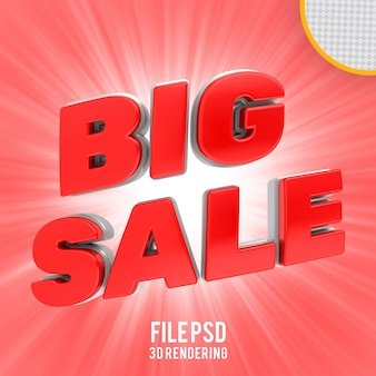 Grande vendita banner rosso rendering 3d