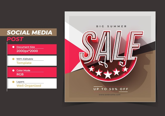 Modello di banner post instagram di marketing digitale per grandi saldi estivi