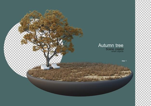Un grande albero in mezzo al prato in autunno