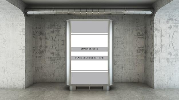 Affissioni pubblicitarie in una passerella di cemento in 3d render