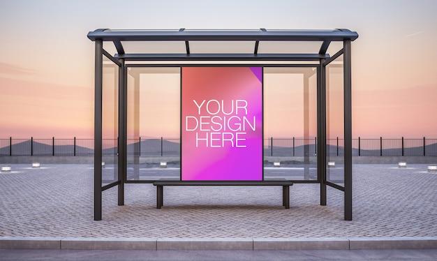 Tabellone per le affissioni sulla rappresentazione 3d del mockup del chiosco della fermata dell'autobus