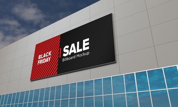 Billboard segno mockup onshopping center con banner di vendita venerdì nero