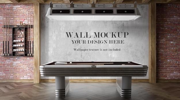 Mockup della parete della sala da biliardo