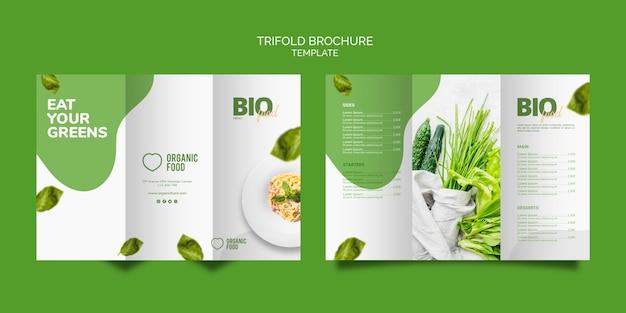Modello dell'opuscolo a tre ante di cibo bio
