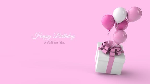 Modello di biglietto di auguri di compleanno. palloncini e presente. illustrazione 3d