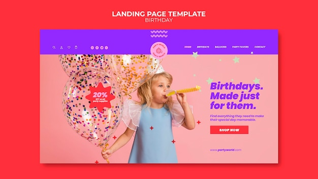 Modello di pagina di destinazione della festa di compleanno
