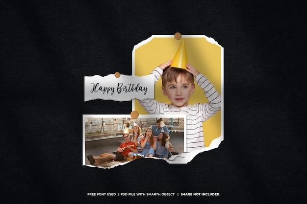 Set di cornici per foto di compleanno moodboard