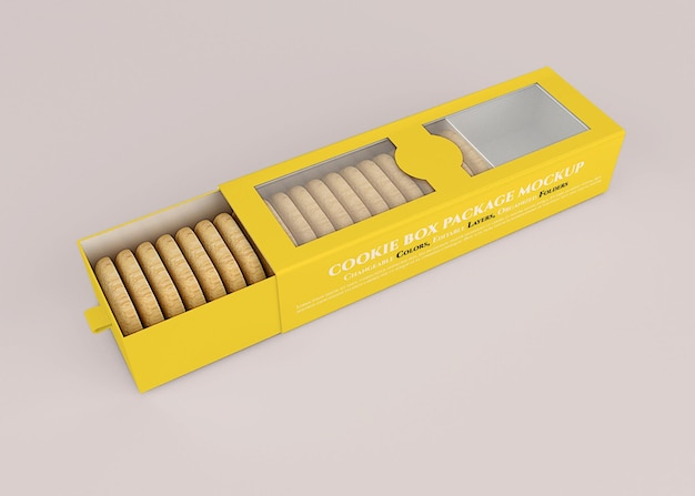 Mockup di scatola del contenitore di biscotti per biscotti