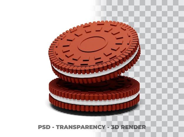 Biscotti oreo cookies 3d render con sfondo trasparente